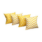 Land of Pillows - Dandelion & Zig Zag Chevron Corn Yellow Decorative Throw Pillows - 4 Pack, Small - Fabric Designer - Premier Prints