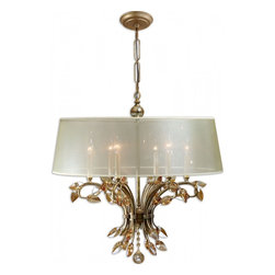 """Uttermost - Alenya 6 Light Sheer Fabric Shades Chandelier - Burnished Gold Metal With Golden Teak Crystal Leaves And A Silken Champagne Sheer Fabric Shade. Dimensions: 29.375""""H X 29.125"""" Diameter; Lights: 6; Finish: Burnished Gold Metal with Golden Teak Crystal Leaves; Light Covers: Silken Champagne Sheer Fabric Shade; Weight: 31 lbs; Bulbs: 60 Watt (Not Included); UL Approved"""