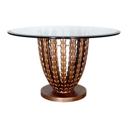 """GILANI - Olive Grove Dining Table Base (Round) - Olive Grove Dining Table Base (Round). Style no: DT96901. 23""""dia x 29""""h. Material: Metal. Finish: As specified. Top Options: Glass, wood, or copper. Custom sizing available. Designed by Shah Gilani, ASFD."""
