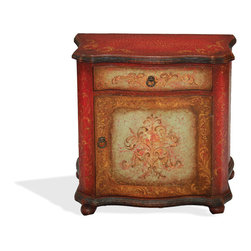 Vally Fresco Nightstand, Distressed Fresco Red Crackle, Turquoise, and Scrolls - Vally Fresco Nightstand, Distressed Fresco Red Crackle, Turquoise, and Scrolls