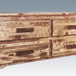 "Montana Woodworks - Homestead Sitting Chest, 4 Drawer, Stained and Lacquered - From Montana Woodworks, the largest manufacturer of handcrafted, heirloom quality rustic furnishings in America comes the Homestead Collection line of furniture products. Handcrafted in the mountains of Montana using solid, American grown wood, the artisans rough saw all the timbers and accessory trim pieces for a look uniquely reminiscent of the timber-framed homes once found on the American frontier. This unique sitting chest, used at the end of the bed, in the hall or any place needed, allows for extra storage in its four completely functional drawers featuring easy glide drawer slides and spacious drawers (21.75"" W x 16.375"" D x 5.25"" H). Hand crafted of solid, American grown wood in the mountains of Montana. Comes fully assembled. All Montana Woodworks products come with a 20-year limited warranty at no additional charge. Hand Crafted in Montana U.S.A.; Solid, U.S. grown wood; Timbers and Trim Pieces are Sawn Square for Rustic Timber Frame Design Appearance; Heirloom Quality; 20 Year Limited Warranty; Durable Build, Fit and Finish; Each Piece Signed By The Artisan Who Makes It; Solid Wood, Edge Glued Panels; Easy Glide Drawer Slides and ""Rough Sawn"" Lodge Pole Trim. Dimensions: 59""W x 21""D x 24""H"