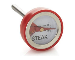 "Leave-In Mini Steak Thermometer - Mini ""button"" thermometers make it easy to prepare steaks to guests' personal preferences. Thermometers should be left in during roasting or grilling (best placement is in the side so food can be turned during cooking)."