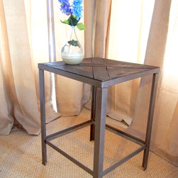 Industrial chic side tables - design your own, ships free - We don't sell furniture; we sell family heirlooms. These sturdy industrial chic pieces make a statement in any decor style and their warmth and character is timeless. The patina of these pieces only gets better with age--and even better--no more stressing over water stains. These tables are tough enough to handle life--beautifully.