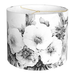 "artanlei - Linen Paris Nights Hollyhock Drum Lamp Shade, 14""d, 14""h - Nod to Paris of bygone years.  Hollyhock floral pattern in neutral black and charcoal gray tones on a soft white linen cotton.  Update your decor and return to the romance of a night on the streets of Paris."