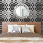 Hollywood Squares Stencil - Hollywood Squares Allover Wall Stencil from Royal Design Studio Stencils. This hand painted, metallic silver, allover, wall pattern brings bling to your bedroom, dining room or powder room. This also works on fabric, furniture, floors and ceilings.