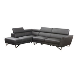 Tosh Furniture - Tosh Furniture Modern Black Leather Sectional Sofa With Adjustable Headrest - Modern Black Bonded Leather Sectional Sofa