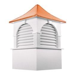Good Directions Farmington Vinyl Cupola - It's the perfect complement to your home or two-car garage. Our expertly crafted Farmington louvered cupola features timeless American style. It's made in the USA from durable PVC-vinyl for many years of enjoyment. The pagoda-style, polished copper roof adds an architectural element of beauty. Includes an easy-to-follow installation guide. For a really distinctive finishing touch, add a Good Directions weathervane or finial!