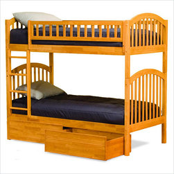 Richmond Twin over Twin Bunk Bed with Flat Panel Storage Drawers in Caramel Latt - The Richmond Twin over Twin Bunk Bed with Drawers in Caramel Latte Finish - Atlantic Furniture gives you tons of other options to make it more useful to your children as well. If you children frequently have guests over, just purchase the trundle bed. It is much more comfortable than sleeping on the floor, and doesn't take up any extra space in your children's room.