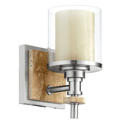 Quorum Lighting - Quorum Lighting Concord Transitional Wall Sconce X-56-1-4655 - Layering of finishes, details and materials helps to create a stunning appearance to this Quorum Lighting wall sconce. The shade is made with a clear glass outer shade and amber scavo inner shade. This transitional wall sconce also features Satin Nickel finishing with a stone accent piece.