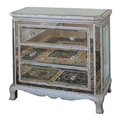 Hooker Furniture - Three Drawer French Mirrored Chest - If this French mirrored chest could see itself, you wouldn't blame it for being vain. Beautifully crafted from hardwood, it features three drawers with faceted glass pulls, mirrored panels and an antique parchment finish. Ooo, la la!