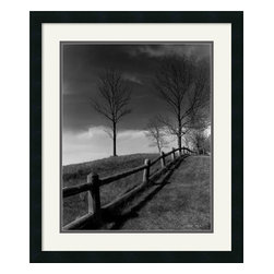 Amanti Art - Fences and Trees, Empire, MI Framed Print by Monte Nagler - Do something stark and inspiring in your decor. This powerful landscape, by photographer Monte Nagler, evokes a bittersweet black-and-white mood.