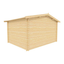 Autumn 12 x 12 Wood Shed - ECO Garden Sheds. All natural wood 12 x 12 Traditional wooden garden house / storage shed -- Autumn. 12 x 12 Wood Shed back view A.