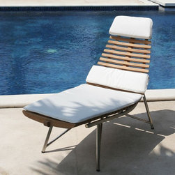 Teak Chaise Lounge - I love the lines of this chair and the fact that the cushions are so perfectly matched. The teak slats in the back give design interest as well as provide ventilation on hot days.