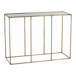 Arteriors - Othello Console - Simple perfection. That's what this console table will bring to your room. The clean, simple, geometric base is crafted of iron and finished in antique brass for soft sheen. The subtly antiqued mirror top is the perfect place for a lamp, a bowl for keys, a stack of art books — or leave it clear so you can admire it on its own.