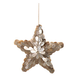 Traditional Capiz Star Ornament - Simple and beautifully constructed of shimmering, irridescent capiz shell, the Traditional Star Ornament is a darling addition to your tree and a perfectly charming decoration for a coastal abode. A delicate merging of shells and the holiday season make these a wonderful finishing touch to your decor that adds whimsy and a touch of glamour to your tree.