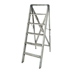 Pre-owned Vintage French Wood Step Ladder - Vintage handmade wood ladder from France. Painted in a distressed gray finish. Nice patina and texture, great for rustic retail display. Great for decorative use only!