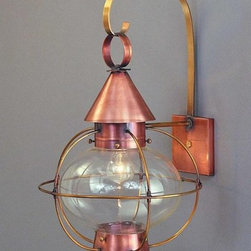"""New England Cape Cod Colonial Reproduction Wall Lantern - Cape Cod Onion Lantern in antique copper, 1 light, clear glass. Size shown: 10-1/2""""wide x 20""""high, extends 12"""". Available in other finishes, sizes and glass."""