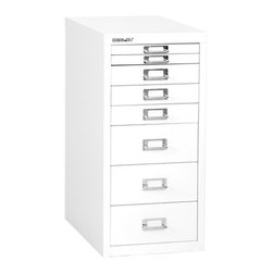 Empire Office Solutions - Bisley 8-Drawer Under Desk Multi-Drawer Cabinet in White Steel - The aptly-named Bisley multi drawer under-desk steel cabinet features eight drawers to organize paper, forms, art supplies, crafts, scrapbooking tools and other items. The drawers pull out fully, offering easy access to drawer contents. The durable steel cabinet is sized to fit under a desk or counter. Accented with attractive chrome pull handles and built-in label holders, this compact storage cabinet looks great at the office, workshop, garage or home. Enhance with Bisley multi drawer inserts to neatly store pens, paper clips, thumb tacks and other small items. This under-desk cabinet is finished in long lasting powder coated paint that won't chip or rust.