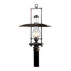 """Troy - Country - Cottage Dakota Collection 29"""" High Outdoor Post Light - The Dakota outdoor collection from Troy Lighting illuminates your exterior with refined rustic glamour. This post light design builds on the hurricane lantern aesthetic adding sleek materials and graceful lines. Crafted from solid brass and presented in an English bronze finish. Clear seeded glass adds extra appeal. An attractive design for lighting your outdoor spaces. Solid brass construction. English bronze finish. Clear seeded glass. Takes one 100 watt bulb (not included). 29"""" high. 17 1/2"""" wide. Post not included.  Solid brass construction.   English bronze finish.   Clear seeded glass.   Design by Troy Lighting.  Takes one 100 watt bulb (not included).   29"""" high.   17 1/2"""" wide.   Post not included."""