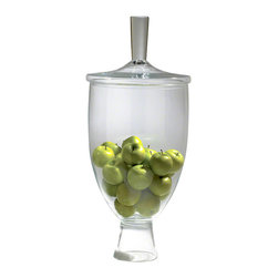 Modern Glass Display Jar - You're entertaining guests this evening. How will you display your favorite treats or treasures for all to see? This Modern Glass Display Jar, of course. Its sleek design and strong base make it ideal for both entertaining and adding a touch of sophistication to your home. It's even crafted from environmentally-friendly materials. Treat yourself for that, too.