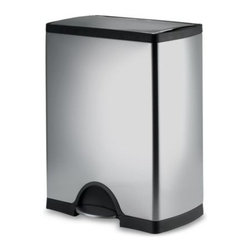 Simplehuman - simplehuman Rectangular 50-Liter Brushed Stainless Steel Step-On Trash Can - This brushed stainless steel step-on can has an unusual shape that will make it a great addition to your home. It features an extra wide opening that accommodates bulky items and can fit flush against a wall.