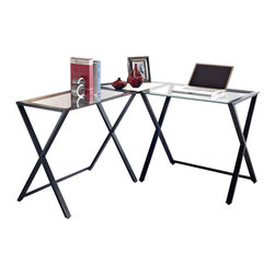 Walker Edison - Walker Edison X-Frame Glass and Metal L-Shaped Computer Desk in Black - Walker Edison - Computer Desks - D51X29CB - This contemporary desk offers a sleek modern design crafted from durable steel and thick tempered safety glass. The L-shape provides a corner wedge for space-saving needs with a look that is both attractive and simple. The unique X-frame creates a sleek design without compromising stability a perfect addition to any home office.