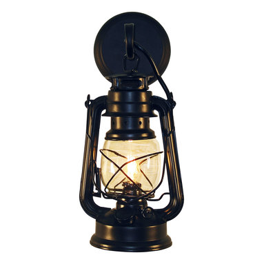 Muskoka Lifestyle Products - Rustic Lantern Wall Mounted Light - Small Black - This Lantern Wall Sconce has our rustic finish with the look of an original oil lantern to provide that authentic touch to your space. This item is UL listed as an indoor, wall mounted fixture only.