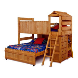 Chelsea Home - Chelsea Home Twin Over Full Loft Bed with Ladder - Cinnamon Multicolor - 3514269 - Shop for Bunk Beds from Hayneedle.com! The Chelsea Home Twin Over Full Loft Bed with Ladder - Cinnamon is ready to tucker your kids out for bedtime with a fun fort setup. This bed set is made strong solid Ponderosa pine with rounded corners for safety. You kids will find plenty of space for toys and clothes alike in storage space hidden beneath the ladder. About Chelsea Home FurnitureProviding home elegance in upholstery products such as recliners stationary upholstery leather and accent furniture including chairs chaises and benches is the most important part of Chelsea Home Furniture's operations. Bringing high quality classic and traditional designs that remain fresh for generations to customers' homes is no burden but a love for hospitality and home beauty. The majority of Chelsea Home Furniture's products are made in the USA while all are sought after throughout the industry and will remain a staple in home furnishings.