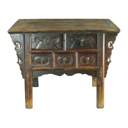EuroLux Home - Consigned Antique Chinese Money Table Chest of 5 - Product Details