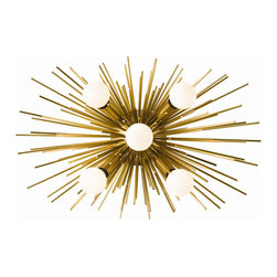 """Arteriors - Arteriors Home - Zanadoo Sconce - 49996 - An adaptation of one of our most popular chandeliers, this antique brass sconce has five lights and can be hung horizontally or vertically. Features: Zanadoo. Collection: Sconce 5 LightAntique Brass Finish Some Assembly Required. Dimensions: H: 12"""" x W: 18"""" x D: 8"""""""