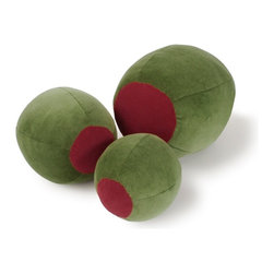 "BrightandBold - Martini Olive Pillow Set of 3 - Our Olive Pillows are handcrafted from high quality soft velvet with durable polyester filling. This 3pk Set of Olive Shaped Pillows makes a great Martini Gift. Olive pillows are spot clean and each may vary slightly due to their handcrafted nature. Small olive pillow (6"" diameter, round shape) makes for great desk or bar decor, great for placing in oversized martini glasses. Medium olive pillow (8"" diameter, round shape) is a handsome accent pillow in a pillow grouping. Large olive pillow (12"" diameter, oblong shape) stands alone as a statement piece in your modern decor."