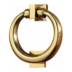 Renovators Supply - Door Knockers Bright Brass Door Knocker Ring 4 1/2 H x 4 W | 20539 - Clasic Brass Ring Doorknocker: Welcome your guests with style with this solid brass polished and lacquered ring door knocker. Measures 4 1/2 in. H x 4 in. W.
