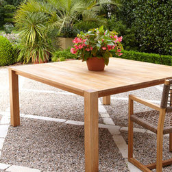 Horchow - Teak Parson's Dining Table - Outdoor dining and entertaining take on tropical plantation ambiance with this distinctive outdoor furniture. Clean lines and an unassuming profile make this table and chair combination the perfect choice for both formal affairs and more leisurely, casu...