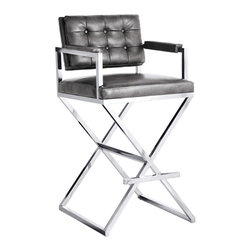 Sunpan - Sunpan Equinox Bonded Leather Barstool - Inspired by a director's chair,this exquisite stool features contemporary track arms,a button tufted back and an ultra sleek stainless steel x-base. Stocked in grey nobility bonded leather with California foam.