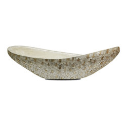 Curved Ivory Overlapping Capiz Bowl with Gold Flecks - An organic twist on the trend for glass tile in today's homes, the Curved Ivory Capiz Bowl has differing finishes on the inside of the wide transitional vessel on on the outside.  The inner surface is covered with an overlapping laminate of the thin natural shells, their glossy silicate content reflecting back light for softly-textured gloss, while the outside is tiled with foil-bright metallic cut shells through which drops of gold are artfully scattered.