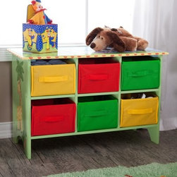 Teamson Design Sunny Safari 6 Bin Storage Cubby - In your quest to find furniture that will cure the clutter in your child's room, look no further than the Teamson Design Storage Cubby Base Set - Sunny Safari Collection. This hand-carved storage chest is constructed of durable MDF, so it will endure the wear and tear of active little boys. It features a fun safari theme with hand-painted details that will excite your little explorer and enhance the décor in his den. Six lightweight canvas storage bins are included with ample space for all his playtime gear. Featuring bold reds, greens, and yellows, this colorful cubby makes picking up after playtime seem like a walk in the park!About Teamson DesignBased in Edgewoood, N.Y., Teamson Design Corporation is a wholesale gift and furniture company that specializes in handmade and hand painted kid-themed furniture collections and occasional home accents. In business since 1997, Teamson continues to inspire homes with creative and colorful furniture.