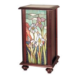 Dale Tiffany - Dale Tiffany TA101346 Iris Tiffany Pedestal Accent Lamp - Shade: Hand Rolled Art Glass, Wood