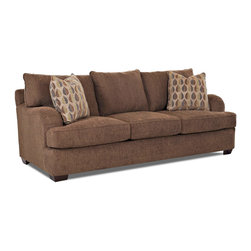 Klaussner Furniture - Made to Order Purelife Chatham Brown Sofa - This Chatham sofa will be a relaxed,comfortable favorite piece in your home. Low profile arms complete with pleating details,exposed wood legs,T-style seat cushions and welt tailoring make a fashion statement.