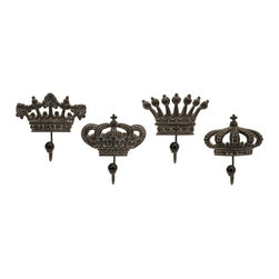 """IMAX CORPORATION - Regent's Crown Hooks - Set of 4 - Set of four porcelain crown hooks fit for a king. Comes in various sizes measuring around 7.25""""L x 4.5""""W x 5.75""""H each. Shop home furnishings, decor, and accessories from Posh Urban Furnishings. Beautiful, stylish furniture and decor that will brighten your home instantly. Shop modern, traditional, vintage, and world designs."""