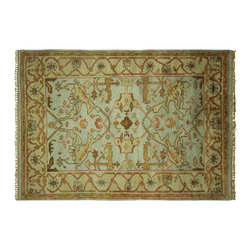 Manhattan Rugs - New 4' X 6' Oriental Soft Baby Blue Oushak Veg Dyed Hand Knotted Wool Rug H5600 - Oushak rugs originated in the small town of Oushak in west central Anatolia, roughly 100 miles south of the city of Istanbul in Turkey. Oushak has produced some of the most decorative Persian influenced rugs of all times. Oushak has been a production center of Turkish rugs since the 15th century. In the late 15th century the 'design revolution' took place. Before, producing carpets was part of the nomad culture, meeting people's daily needs, but for the first time the works of designing and weaving rugs were split in two. These Turkish rugs began to be produced commercially. From the 16th up to the 18th century the most famous manufacturers of ottoman times worked in Oushak. A special heirloom wash produces the subtle color variations that give rugs their distinctive antique look.