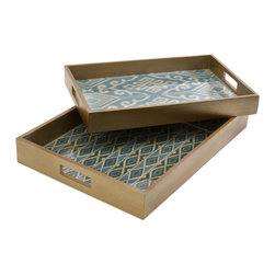iMax - Geneva Trays, Set of 2 - With blue toned woven mendong interiors, this set of two Geneva trays feature unique pattern and a glass insert. Comes in small and large stackable set.