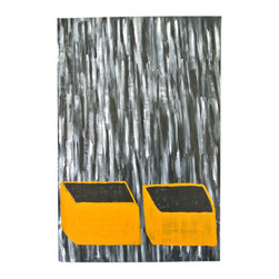 eastmantribe - Orange Crates Painting - The painting Orange Crates is an abstract work by artist John Eastman completed in 2003 and depicts 2 crates with a backdrop of falling grays and blacks while the inside of the crates remains a solid color.