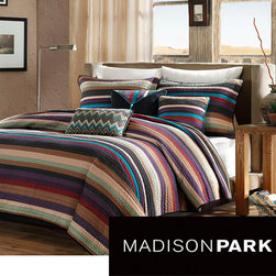 Madison Park - Madison Park 'Sequoia' 6-piece Coverlet Set - Add a cheerful touch to your bedroom with this striped coverlet set. Featuring vibrant hues of purple, teal, red and other earthy tones, this modern quilt set is a comfortable and stylish way to breathe new life into your bedroom or guest room.