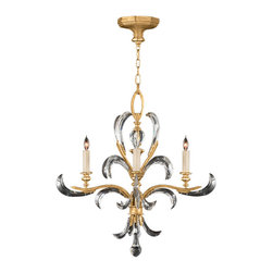 Fine Art Lamps - Beveled Arcs Gold Chandelier, 760840ST - Let this beveled beauty fill your favorite formal setting with sparkling light. The graceful chandelier sets its arcing crystals against a muted gold-leaf finish for refined brilliance.