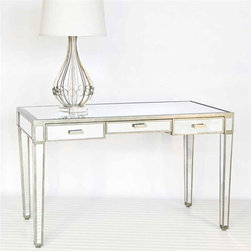 "Worlds Away - Worlds Away - Vivien Silver Mirrored Desk - VIVIEN - A sleek simple design meets high style glamour in this gorgeous Vivien desk. Antiqued silver trims the gorgeous mirrored finish for a look that adds pizzazz to a bedroom, home office or living area. Three drawers in the wood desk offer storage space. Lamp not included.Features:Vivien�Collection�Desk�Silver�FinishThree drawersWood desk offer storage spaceA sleek simple design meets high style glamourSome Assembly Required Dimensions:�48"" W x 23.5"" D x 29.5"" H"