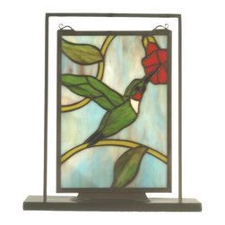 Meyda Tiffany - Meyda Tiffany Hummingbird Lighted Tabletop Tiffany Window X-21325 - From the Hummingbird Collection, this Meyda Tiffany lighted tabletop Tiffany window features a simple design depicting a hummingbird taking a delicate sip from a bold red flower. The neutral iridescent-like appearance of the backdrop adds visual interest, while shades of green pull this look together.