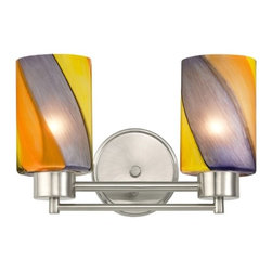 Design Classics Lighting - Modern Bathroom Light with Art Glass in Satin Nickel Finish - 702-09 GL1015C - Contemporary / modern satin nickel 2-light bathroom light. Takes (2) 100-watt incandescent A19 bulb(s). Bulb(s) sold separately. UL listed. Damp location rated.
