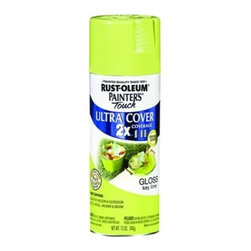 Rustoleum Brands - 249104 Sp Gloss Key Lime 2X - PAINTER'S TOUCH (R) 2 X ULTRA SPRAY PAINTS  Painter's Touch Ultra Cover 2X delivers twice -  the coverage as other competitive brands  Advanced Double Cover Technology provides the -  best formula for ultimate hiding power  Complete projects faster and easier  For wood-wicker-metal-plaster-unglazed ceramic  Smooth durable finish-fast dry-resists chipping  12 Oz. spray with any angle spray tip    249104 SP GLOSS KEY LIME 2X  SHEEN:Gloss  Color: Key Lime