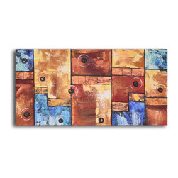 """My Art Outlet - Hand Painted """"Bouncing balls on stairs"""" Oil Painting - Size: 16"""" x 32"""" (16"""" x 32""""). Enjoy a 100% Hand Painted Wall Art made with oil paints on canvas stretched over a 1"""" thick wooden frame. The painting is gallery wrapped and ready to hang out of the box. A very stylish addition to any room that is sure to get the attention of guests."""