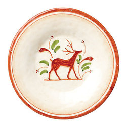 Frontgate - Vietri Set of Four Renna Salad Plates - Handmade of terra cotta. Hand-painted in Umbria. Dishwasher safe. Will make a lovely addition to Christmas dinnerware collections. The Renna Dinnerware is a festive collection for fall and the holidays. In Italian lore, the reindeer, or renna, is a thing of majesty and beauty. Renna's rich, warm colors of green, red and cream evoke nature, and the animal's graceful silhouette exudes elegance.  .  .  .  . Made in Italy.